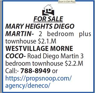 HOMES FOR SALE MARY HEIGHTS DIEGO  MARTIN- WESTVILLAGE MORNE COCO-